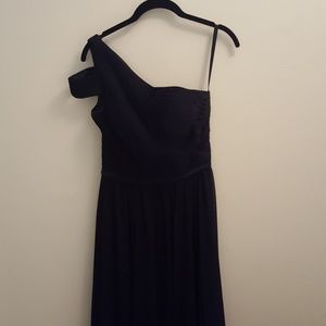 Morilee navy one shoulder gown